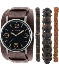 Kahuna AKUC-0059G Mens Stacker Brown Leather Cuff Watch