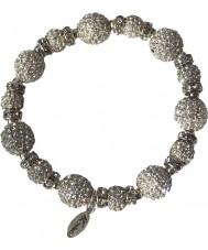 Nevine Crystals CC102 Silver Crystal Beads Stretch Bracelet