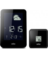Braun BNC013BK-RC Radio Controlled Weather Station Clock - Black