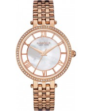 Caravelle New York 44L171 Ladies Glitz White Rose Gold Watch