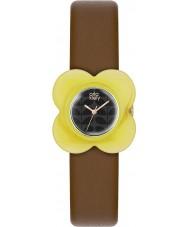 Orla Kiely OK2120 Ladies Poppy Yellow Case Brown Leather Strap Watch