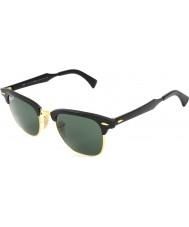 RayBan RB3507 51 Clubmaster Aluminum Black Arista 136-N5 Polarized Sunglasses