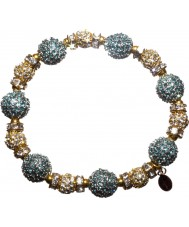Nevine Crystals CC105 Teal and Gold Crystal Beads Stretch Bracelet