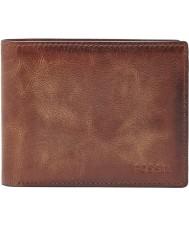 Fossil ML3681200 Mens Derrick Brown Bifold RFID Wallet with Flip ID