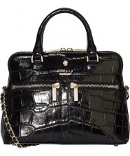 Modalu MH6144-BLACKCROC Ladies Pippa Blackcroc Chained Crossbody Bag