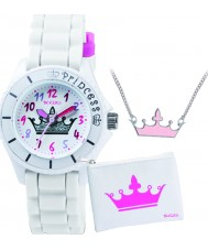 Tikkers ATK1009 Girls White Crown Watch Gift Set with Necklace and Purse