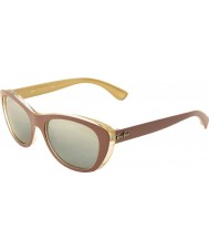 RayBan RB4227 55 Highstreet Top Matt Brown on Ocra 619388 Mirrored Sunglasses