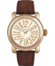 Pocket PK3000 Mens Rond Classique Grande White Brown Watch