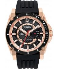 Bulova 98B152 Mens Precisionist Rose Gold Black Watch