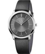 Calvin Klein K3M211C4 Mens Minimal Black Leather Strap Watch