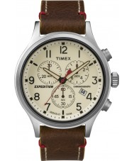 Timex TW4B04300 Mens Expedition Scout Brown Leather Chronograph Watch