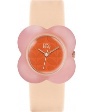 Orla Kiely OK2126 Ladies Oversized Poppy Nude Leather Strap Watch