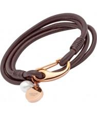 Unique B76DB-19cm Ladies Dark Brown Leather Bracelet
