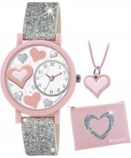 Tikkers ATK1014 Girls Silver Glitter Heart 3D Watch Gift Set with Necklace and Purse