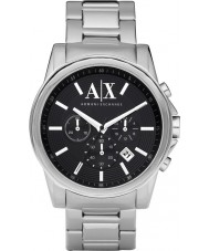 Armani Exchange AX2084 Mens Black Silver Chronograph Dress Watch