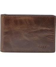 Fossil ML3684201 Mens Derrick Dark Brown Money Clip Bifold Wallet