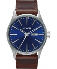 Nixon A105-1524 Mens Sentry Leather Blue Brown Watch