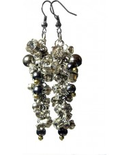 Nevine Crystals CE101 Silver Plated Drop Earrings