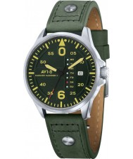 AVI-8 AV-4003-09 Mens Hawker Harrier II Army Green Leather Strap Watch