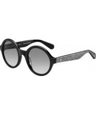 Kate Spade New York Ladies Khrista-S S2J O0 Black Silver Glittery Sunglasses