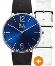 Ice-Watch 001371 Ice-City Exclusive Watch with White Nylon and Black Leather Straps