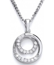 Purity 925 PUR3696P Ladies Round Sterling Silver Necklace With CZ