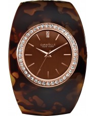 Caravelle New York 44L140 Ladies Brown Bangle Watch with Crystals
