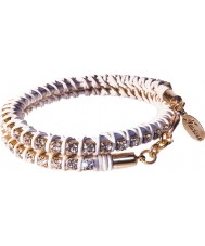 Nevine Crystals DLW101 Double Wrap White Leather Bracelet with Clear Rhinestones
