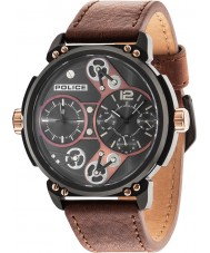 Police 14693JSB-12A Mens Steampunk Brown Leather Strap Watch