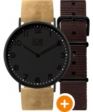 Ice-Watch 001360 Ice-City Exclusive Watch with Beige Leather and Brown Nylon Straps