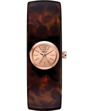 Caravelle New York 44L139 Ladies Brown Bangle Watch with Crystals