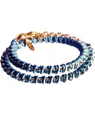 Nevine Crystals DLW103 Double Wrap Turquoise Leather Bracelet with Blue Rhinestones