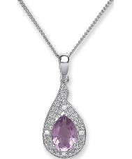Purity 925 PUR3729P Ladies Purple Amethyst Sterling Silver Necklace With CZ