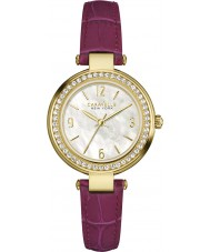 Caravelle New York 44L176 Ladies Mini T-Bar Purple Leather Strap Watch