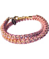 Nevine Crystals DLW105 Double Wrap Met Champagne Leather Bracelet with Pink Rhinestones