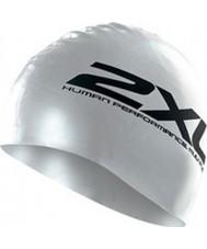 2XU US1355F-OFSA Silver Silicone Performance Swim Cap
