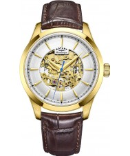 Rotary GS05035-03 Mens Gold Plated Brown Skeleton Mechanical Watch