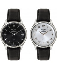 Rotary GS02965-04-22 Mens Revelation Black Leather Strap Watch with Reversible Dial