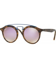 RayBan RB4256 49 Gatsby Matte Havana 6266B0 Lilac Mirror Sunglasses