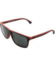 Emporio Armani EA4033 56 Modern Black Red Rubber 532487 Sunglasses
