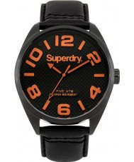 Superdry SYG192BRA Mens Military Orange Black Leather Strap Watch