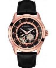 Bulova 97A116 Mens Automatic Black Leather Strap Watch