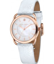 Klaus Kobec KK-10010-03 Ladies Evelyn White Embross Pattern Leather Strap Watch