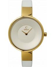 Obaku V149LXGIRW Ladies Gold Plated White Leather Strap Watch