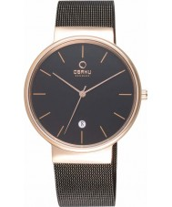 Obaku V153GDVBMB Mens Rose Gold Plated Black Mesh Bracelet Watch