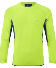 Ronhill RH00277-00038-XL Mens Vision Fluo Yellow Cobalt Long Sleeve Crew - Size XL