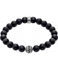 Thomas Sabo A1356-705-11-L19 Mens Zig Zag Black Obsidian Beaded Bracelet