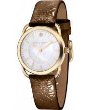 Klaus Kobec KK-10010-04 Ladies Evelyn Brown Embross Pattern Leather Strap Watch