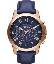 Fossil FS4835 Mens Grant Navy Leather Chronograph Watch
