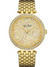 Caravelle New York 44L184 Ladies Rock Crystal Gold Steel Bracelet Watch